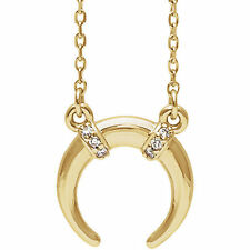 Diamond Accented Crescent Necklace In 14K Yellow Gold