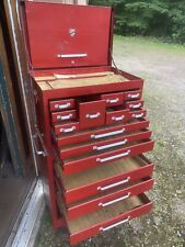 Vintage Red Beach Tool Chest Tower Box Locking Near Mint
