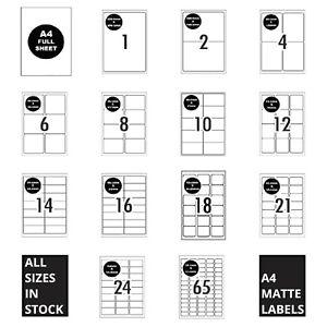 A4 Self Adhesive Labels Inkjet Laser Sticker Mailing Address 1-65 Per Sheet