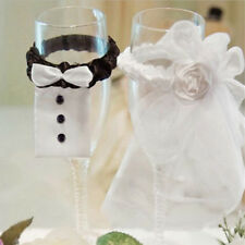 Wedding  Party Decoration A Couple of Bridegroom&Bride Type Wineglass Cover LU