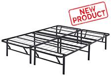 Queen Size Platform Bed Frame Mattress Foldable 14 Inch Metal Steel Heavy Duty