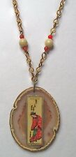 Vintage Asian Oriental Chinese Geisha Girl Cigar Band Agate Jasper Necklace