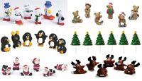 6x mini santa's . snowmen . penguin Christmas Cake Decorations yule log  toppers