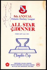 1981 Ohl All Star Program Terry Crisp Larmer Tanti Rc Autograph By Gordie Howe