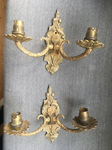 PAIR OF VINTAGE METAL ELECTRIC WALL LIGHT / SCONCES