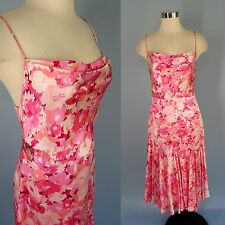 BANANA REPUBLIC Pink Floral 100% Silk Charmeuse Draped Flare Long Dress 4 Small