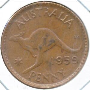 Australia, 1959(m) One Penny, 1d, Elizabeth II - Extra Fine