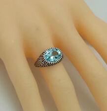 Ovale echten Edelsteinen aus Sterlingsilber Ringe mit Blautopas-Hauptstein