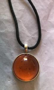 Necklace Pendant Amber Domed Moon Boho Festival Silver Hippy Gorgeous Uk Seller