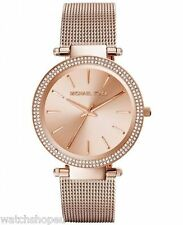 NEW MICHAEL KORS MK3369 LADIES ROSE GOLD MESH DARCI WATCH - 2 YEAR WARRANTY
