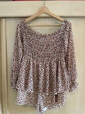 Womens BNWOT Missguided Red Floral Off Shoulder Rouched Playsuit Size 16