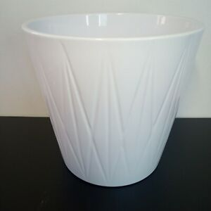 """White Ceramic Planter Made in Germany Geometric Decoration 6"""" x 6"""" tall"""