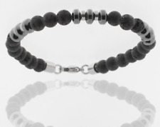 Storch Schmuck Men's Bracelet Lava Stone Stainless Steel Hematite Pearl Germany