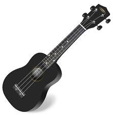 Ukulélé Bois ébène Hawaii Guitare Uke Sopran Noir 15 Frets Cordes en Nylon