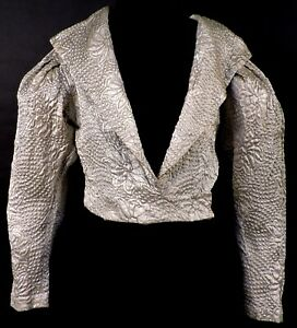 1930'S GOLD LAME THREAD QUILTED SILK SATIN JACKET FOR DRESS W FLORAL PATTERN