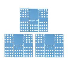 3x Wäschefalter 3. Generation, Faltbrett Kleidung, Wäschefalthilfe blau, 68 x 57