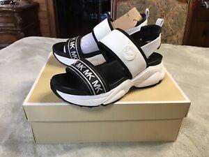 Michael Kors Rooney Scuba Sandal Size 8.5 Optic White and Black 40R0ROFA3D