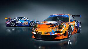 Porsche 911 Gt3 Flying Lizard Auto Car Silk Wall Art Poster Print - 24x36 inch