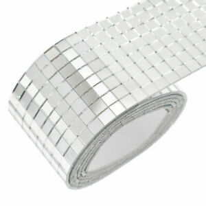 100x4cm Self Adhesive Glass Mosaic Sticker Mini Square Mirror Tiles Decor DIY