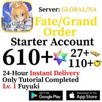 [ENGLISH/GLOBAL/NA][INSTANT] 610+ SQ Fate Grand Order FGO Lv. 1 Starter Account