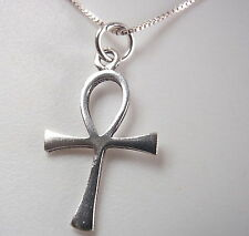 Small Ankh Christian Cross Necklace 925 Sterling Silver Corona Sun Jewelry