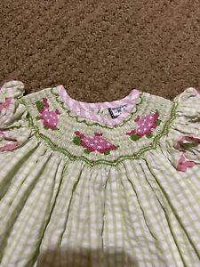 Shrimp and Grits smocked dress 18 months turtles green and pink