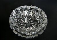 Bohemian Heavy Cut Crystal Ashtray Made in Czechoslovakia