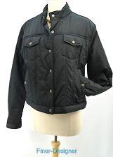 NIKE womens puffer Jacket light coat crop waist snap black moto SZ L VTG NWD NEW