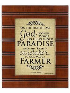 So God Made a Farmer on the Eigth Day Wood Finish 8X10 Sentimental Framed Plaque