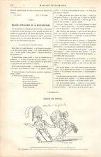 Gendarme Voleur Croquis de Topffer GRAVURE ANTIQUE OLD PRINT 1886