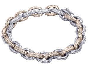 "Men's 10K Two Tone Gold Genuine Diamond Rolo H Link Bracelet 16 1/20 CT 9MM 7.5"""