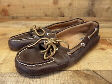 Sperry Top Sider Leather Boat Shoes 2 Eye Slip On Mocs Brown 8