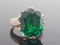 8.50 Ct Oval-Cut Emerald Sim Diamond Heavy Engagement Ring 14K Rose Gold Fn