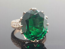 8.50 Ct Oval-Cut Emerald Sim Diamond Heavy Engagement Ring 14K Rose Gold Fn