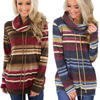 Women's Long Sleeve Striped Boho Hoodie Pullover Sweatshirt T-Shirt Tops Blouse