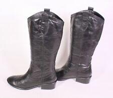 1S Buffalo Damen Stiefel Slouch Boots Leder schwarz Gr. 39 Blockabsatz flach