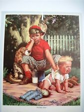 "Adorable 1960 Ad Calendar Sample ""The Baby Sitter"" by ""Frances Tipton Hunter"" *"