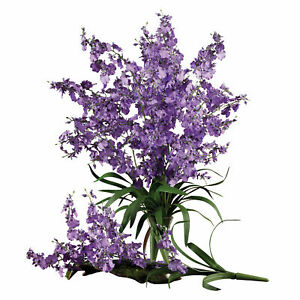 Dancing Lady Set Of 12 Leafy Stem Purple Flower Nearly Natural Home Decor