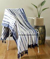 100% Cotton Indigo Hand Tie Dye Large Sofa Bed Throw Rug Blanket 127 x 182 Cm