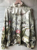 Stunning Ted Baker Wonderland Ruffle Neck Floral Blouse Size 2 UK 10 New