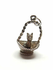 Vintage 925 Sterling Silver CAT KITTEN SITTING IN BASKET Charm Pendant 2.4g