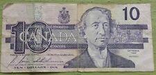 1989 Canada 10 Dollar Bill Banknote Bonin Thiessen Bird Fishing Paper Money