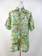 CAVITA Diseñador Mujeres Vintage 90s Ropa De Impresión Abstracta Blusa Camisa Top talla 14 BF86