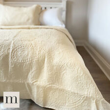 Luxury Cotton Cream Beige Neutral Hotel Style Embroidered Quilt Bedspread Modern