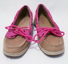 Womens Sperry Top Sider Laguna Hot Pink Tan Shimmer Leopard Leather Boat Shoes 6