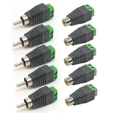 10Pcs Speaker Wire cable to Female + Male RCA Connector Jack Plug Adapter LED