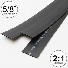 "5/8"" ID Black Heat Shrink Tube 2:1 ratio wrap (3x8"" = 2 ft) inch/feet/to 16mm"