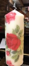 CATH KIDSTON ROYAL ROSES WHITE HAND DECORATED PILLAR CANDLE Rare Design 20x7cm
