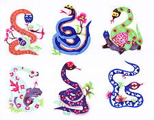 Handmade Chinese PAPER CUTS SNAKE Set 10 colorful small Single pieces Zhou