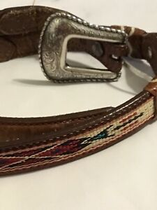 Vintage Boys Justin Leather Cowhide Belt Tribal Southwestern Woven 28 Silver